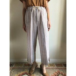 [vintage] neutral stripe wide leg drawstring pants